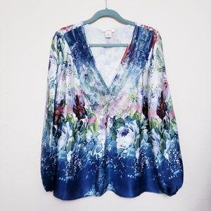 Sundance Silk Long Sleeve Floral Top V neck XL